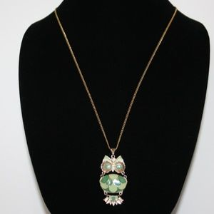 Vintage gold and green owl necklace 24""